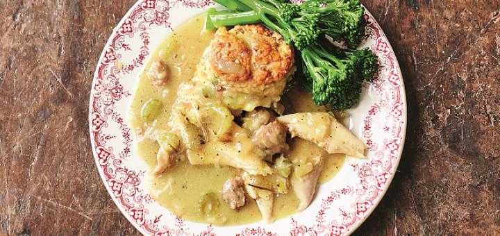 Turkey Stew, Sweet Leek & Smoky Bacon Biscuit Dumplings Recipe by Jamie Oliver