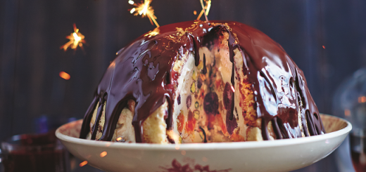 Winter Bombe Recipe with Chocolate, Cherries, Vin Santa, Panettone & Pistachios by Jamie Oliver