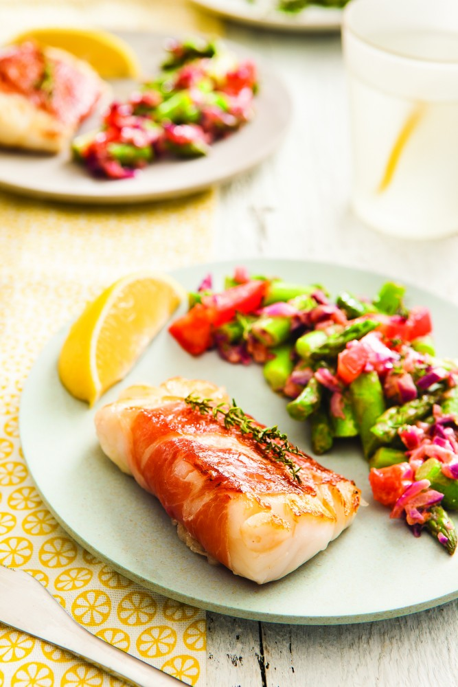 Elsa Jones cod with aspargus salad