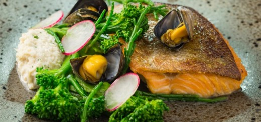 Marcel's Sea trout, crab mayonnaise, mussel vinaigrette, tender stem broccoli