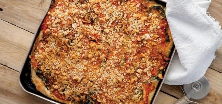 Pancetta Spinach and Provolone Sfinciuni Street pizza by Catherine Fulvio