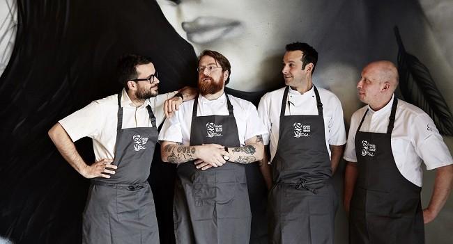 Christian Puglisi, JP McMahon, Matt Orlando, Sasu Laukkonen. Pictured at the launch of Food On Edge 2016 held in Amass Restaurant, Copenhagen April 25th 2016.