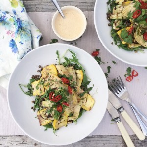 Grilled Courgette & Artichoke Lentil Salad (1)