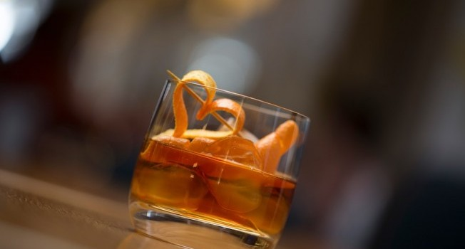 Old Fashioned Cocktail - Makers Mark Bourbon, Angostura Bitters, Sugar Cube