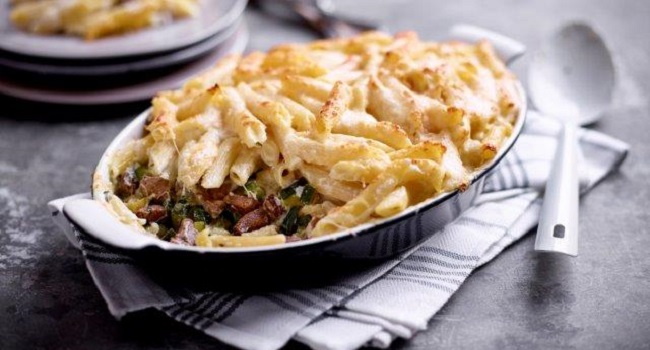 Lamb and Penne Gratin with Courgettes and Two Cheeses Recipe by Chef Mark Moriarty