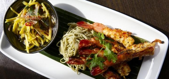 tiger prawns with green tea noodles