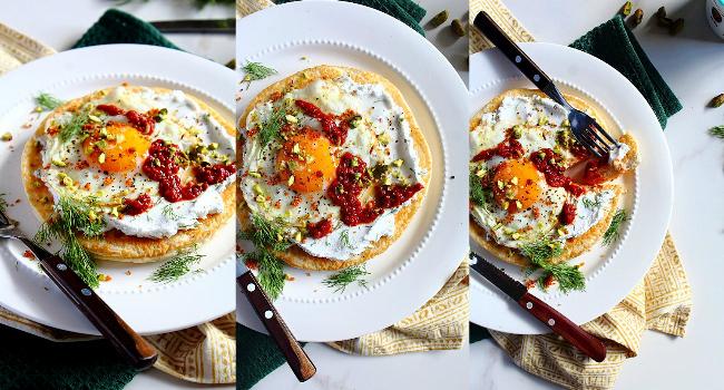 Turkish Fried Egg Flatbread Recipe by Peachy Palate