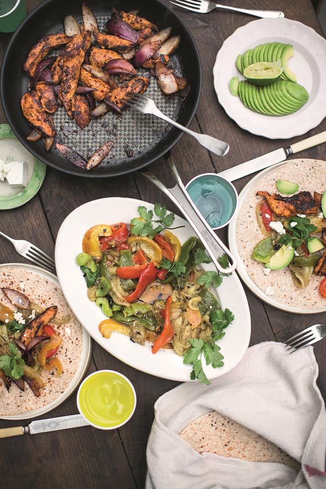 Chicken Fajitas, Smoky Dressed Aubergines & Peppers ⓒ Jamie Oliver Enterprises Limited (2016 Super Food Family Classics) Photographer: Jamie Oliver