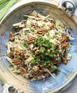 Fennel, Celeriac & Pear Autumn Salad Recipe with Candied Pecans by The Honest Project