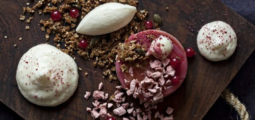 Rhubarb and Redcurrant Terrine with Goat Cheese Ice Cream Recipe by Peter Clifford