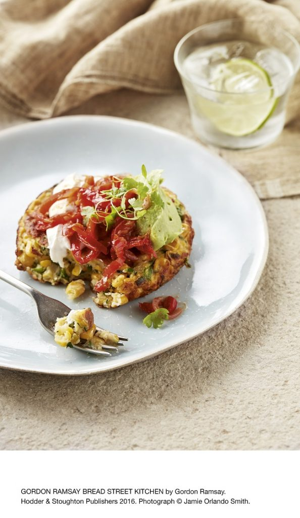 sweetcorn-and-green-chilli-fritters-with-red-pepper-relish-and-avocado