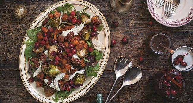 warm-turkey-salad-with-pickled-cranberries