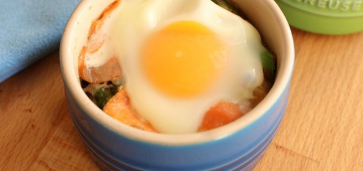 Baked Eggs Recipe with Smoked Salmon & Asparagus from The Wonky Spatula