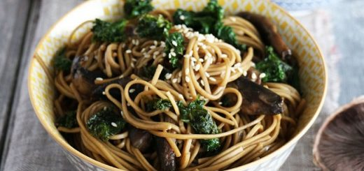Mushroom and Kale Soba Noodles Recipe by The Tiny Vegan Kitchen