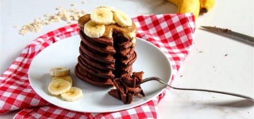 Chocolate Banana Protein Pancakes Recipe with PB