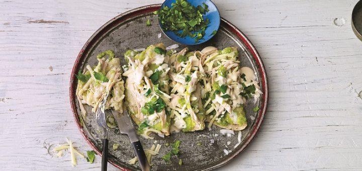 Green Chicken Enchiladas Recipe by Leslie Tallez