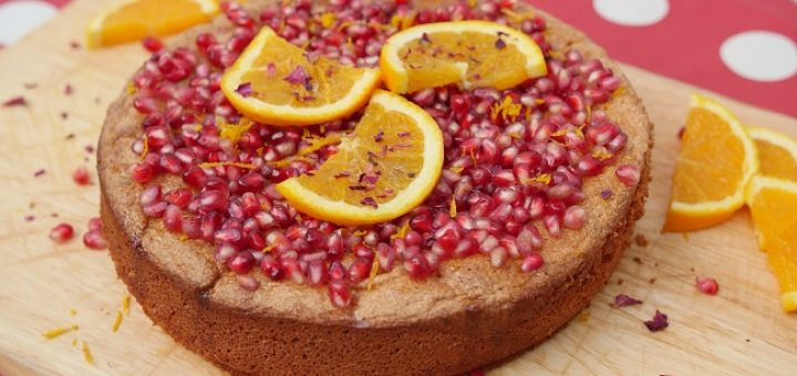 Orange and Pomegranate Flourless Almond Cake Recipe by Delicious Circle