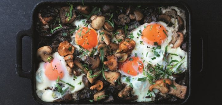Pan Fried Mushrooms with Baked Eggs Recipe by Marcus Wareing