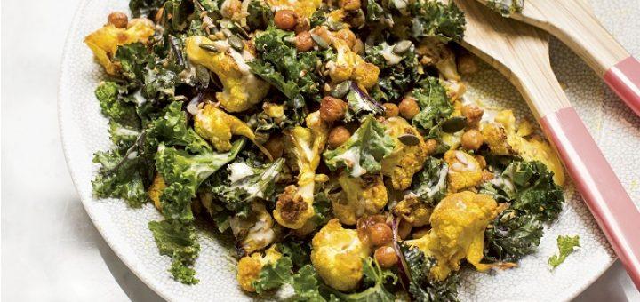 Cauliflower chickpeas kale salad recipe