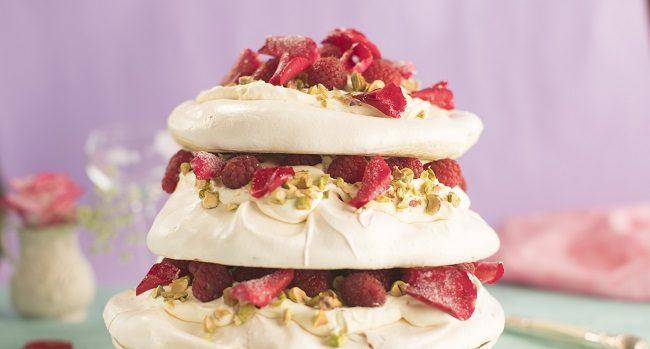 Siúcra & Catherine Fulvio Pistachio Raspberry & Rosewater Meringue Tower Recipe
