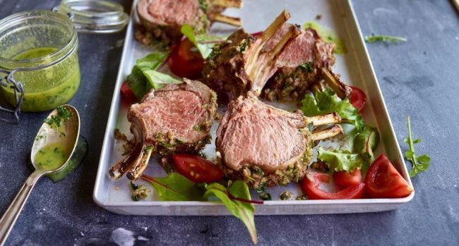 TastyEasyLamb Rack of lamb with anchovies and garlic - compressed