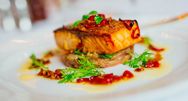 Glazed Salmon with Red Onions & Aubergines Recipe From Dromoland Castle