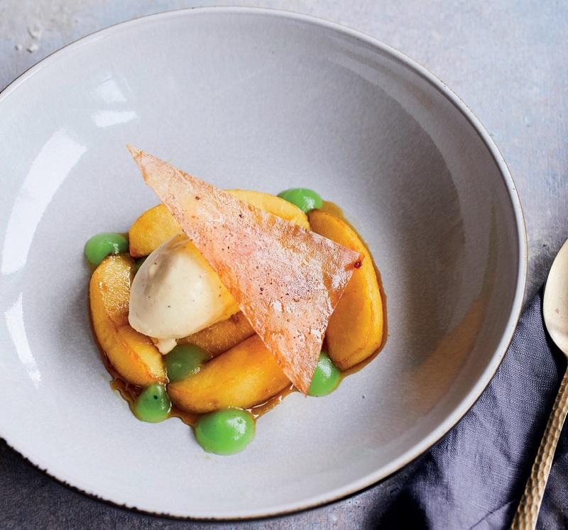 Caramelised Calvados Apples & Granny Smith Purée With Vanilla Ice Cream & Filo Triangle Recipe By Chef Adrian