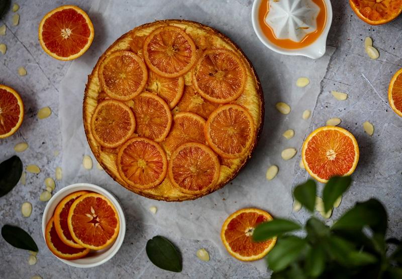 Blood Orange & Almond Upside Down Cake Recipe By Monika Coghlan